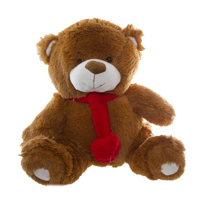 Cuddles Teddy Bear with Hearts and Scarf Brown (42cmST)