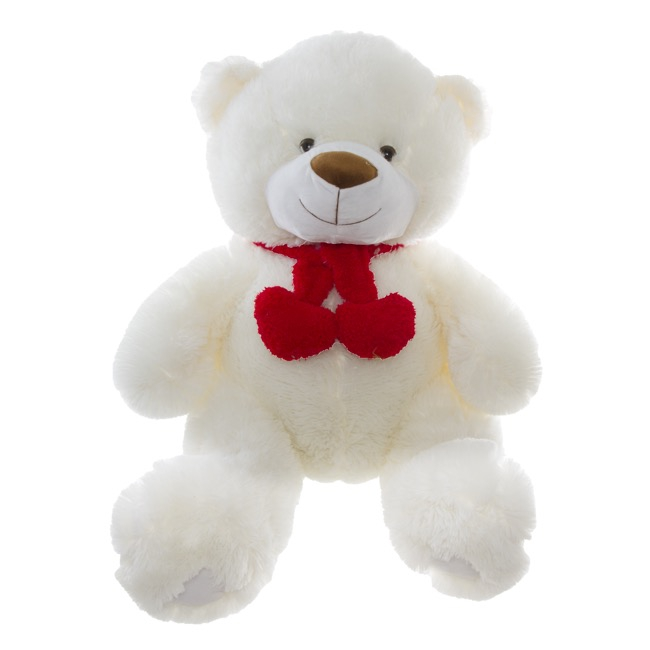 Cuddles Teddy Bear with Hearts and Scarf White (52cmST)