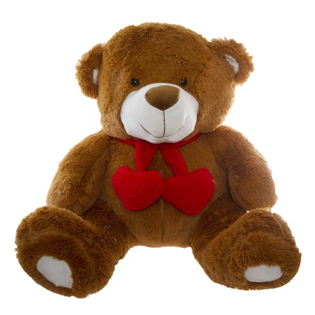 Cuddles Teddy Bear with Hearts and Scarf Brown (60cmST)
