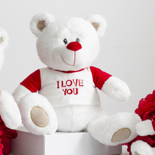 Valentines Teddy Bears - Martin Bear with Tshirt White (32cmST)