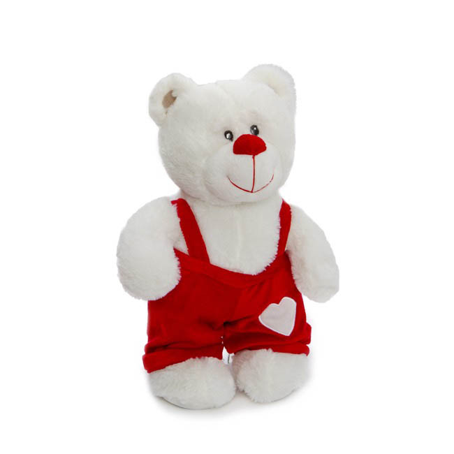Valentines Teddy Bears - Mario Bear with Overalls White (36cmHT)