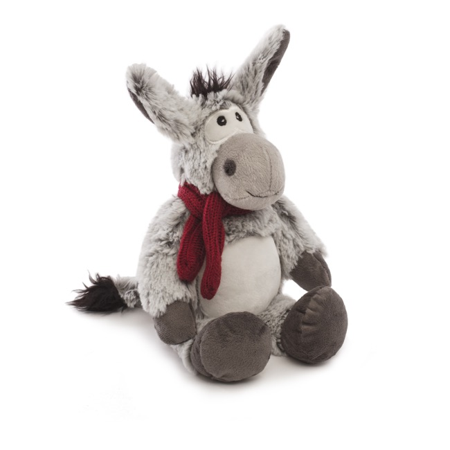 Farm Animal Soft Toys - Dean Donkey with Scarf Grey (20cmST)
