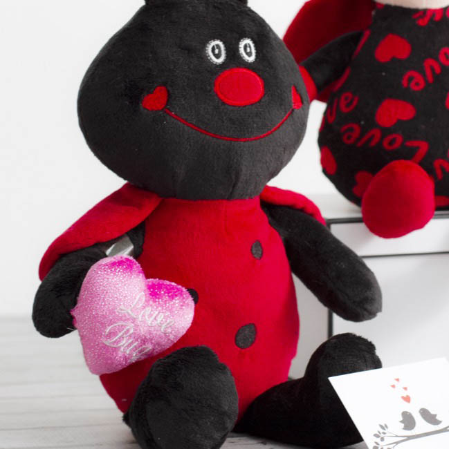 Valentines Teddy Bears - Nico Ladybug with Heart Red (19cmST)