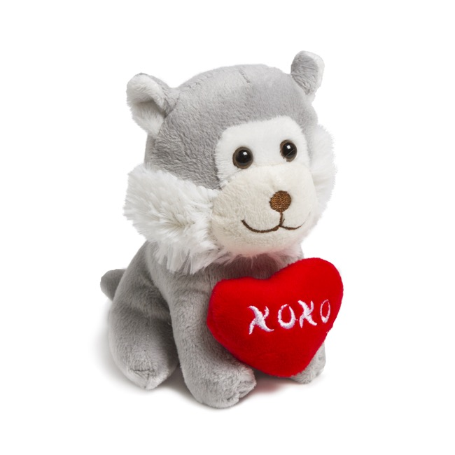 Valentines Teddy Bears - Neil Dog with Heart Grey (14cmST)