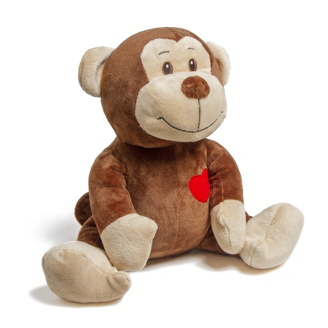 Valentines Teddy Bears - Owen Monkey with Heart Brown (30cmST)