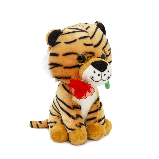 Valentines Teddy Bears - Papo Tiger with Rose Flower Brown  (25cmST)