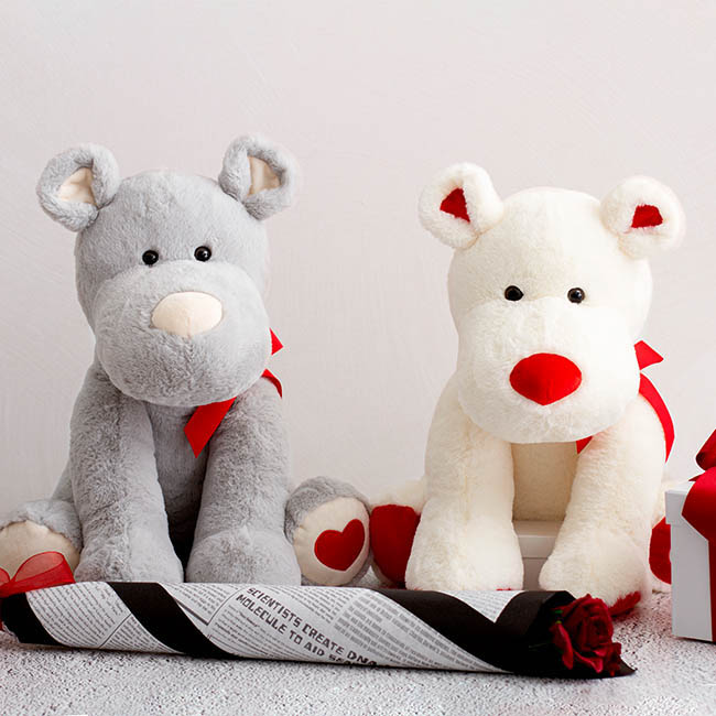 Valentines Teddy Bears - Puppy with Heart Embroidery on foot White (30cmST)