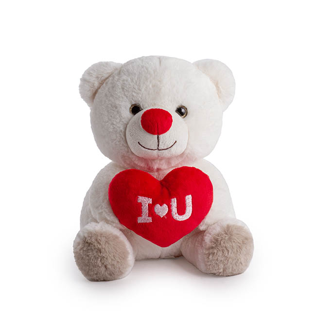 Valentines Teddy Bears - Snow Bear with 'I Love You' White (23cmST)