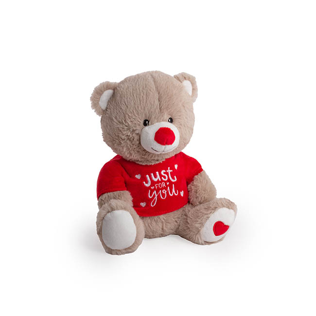 Valentines Teddy Bears - Becca Bear with Tshirt Brown (21cmST)