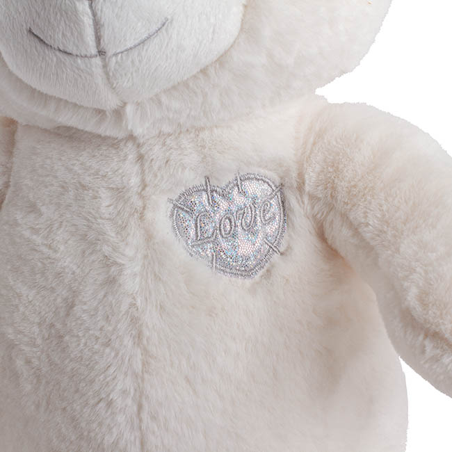 Valentines Teddy Bears - Cindy Bear with Silver Heart White (30cmST)