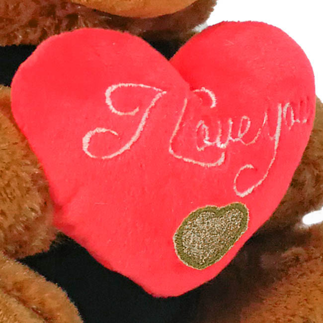 Valentines Teddy Bears - Lola Puppy with Red Heart Dark Brown (21cmST)