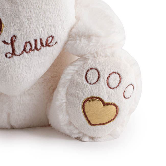 Valentines Teddy Bears - Princess Bear with Heart on the Feet White (24cmST)