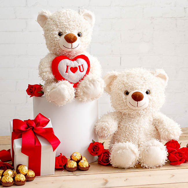 Valentines Teddy Bears - Juno Bear with Sequined Heart White (29cmST)