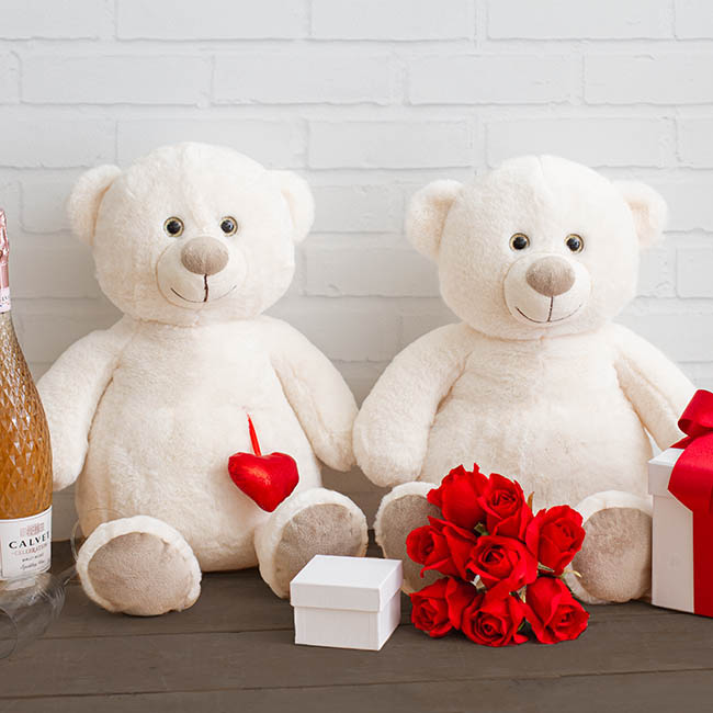 Valentines Teddy Bears - Chubby Bear with Hanging Heart White (35cmST)