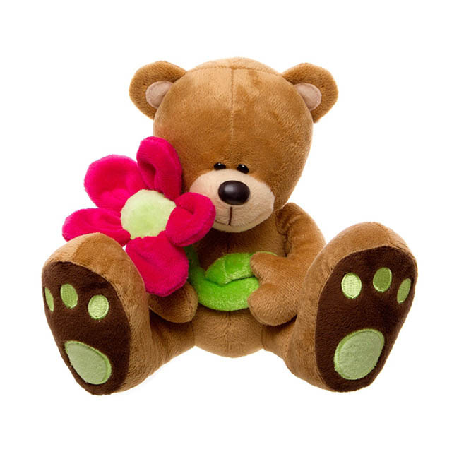 Daisy Teddy Bear with Hot Pink Flower Brown (16cmST)