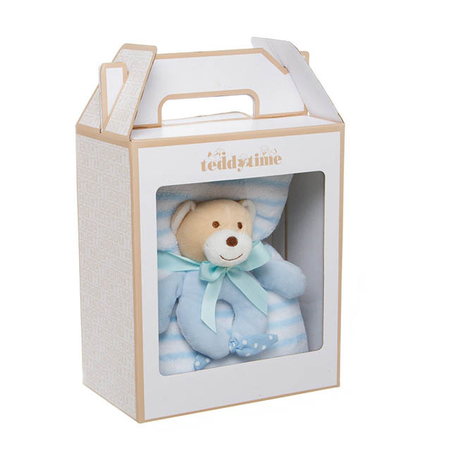 Snuggles Teddy Bear Baby Gift Pack Rattle & Blanket Blue