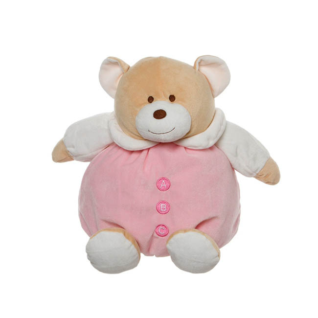 Snuggles Roly Poly Teddy Bear Pink (30cmST)