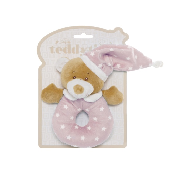 Baby Teddy Bears - Starbright Teddy Bear Ring Rattle Pink (16cm)