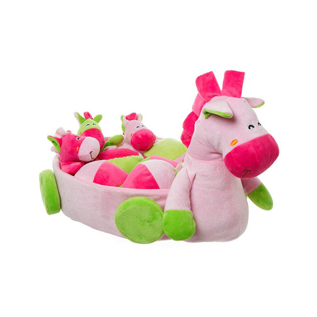Lilly Pony Cart with Assorted 9PC toys Pink & Lime