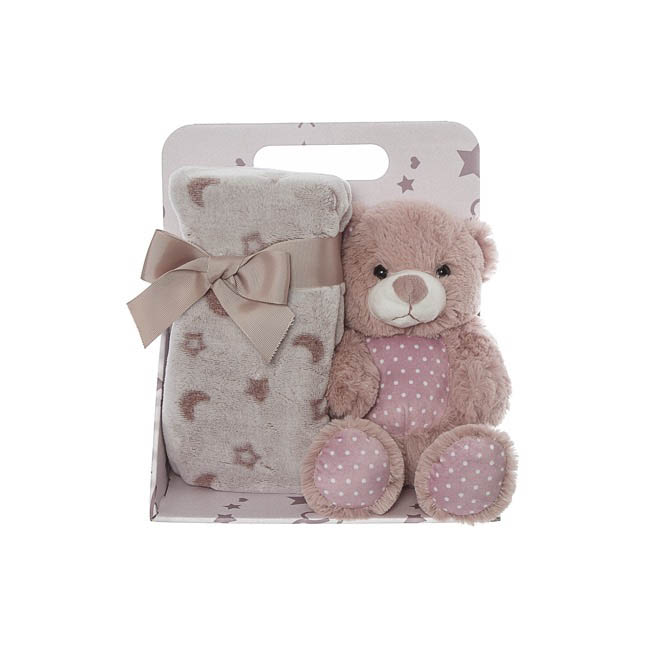 Baby Gift Packs - Harper Teddy Bear Gift Pack Dusty Pink (20cmST)