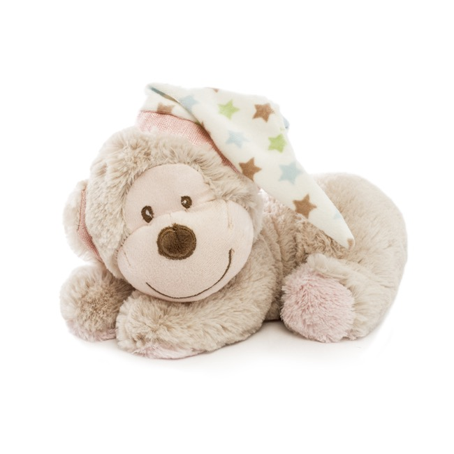 Baby Animal Soft Toys - Gemma Monkey Sleeping Brown Pink (22cmHT)