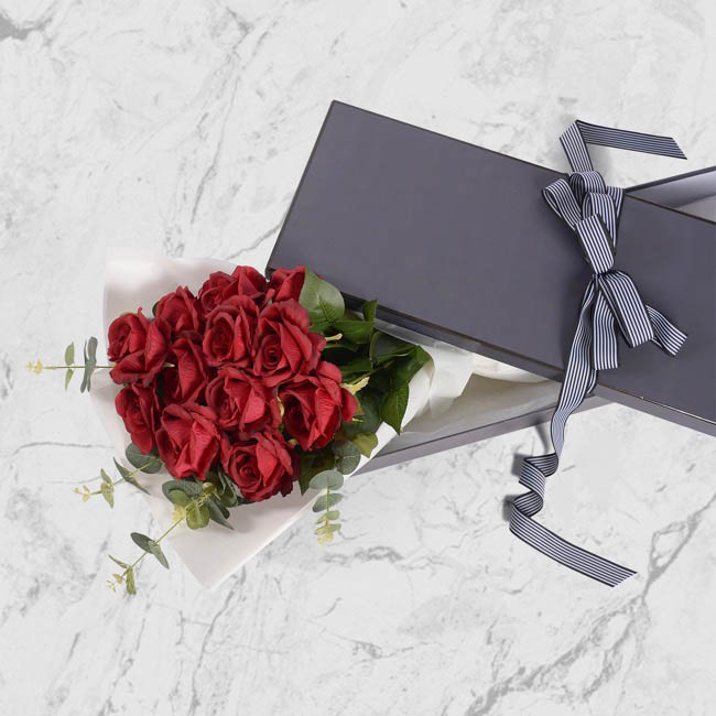 Rose Box Deluxe - Signature Rose Box Silhouette Charcoal (78x23x12cmH) Set 3