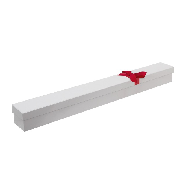 Rose Box Deluxe - Ribbon Glossy Rose Box Single White (71x8x7cmH)