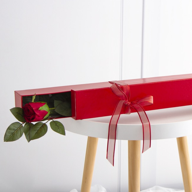 Rose Box Economy - Glossy Rose Box Single Red (71x8x7cmH)