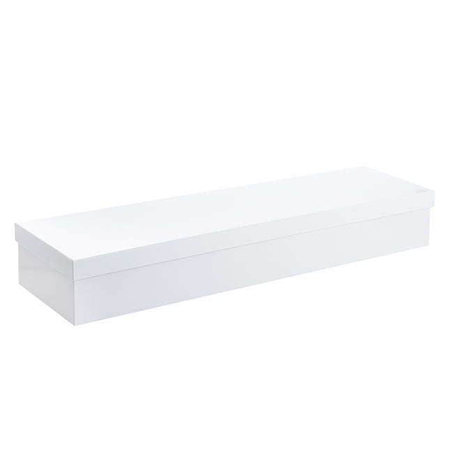 Rose Box Economy - Glossy Rose Box Dozen White (75x21x11cmH) Set 3