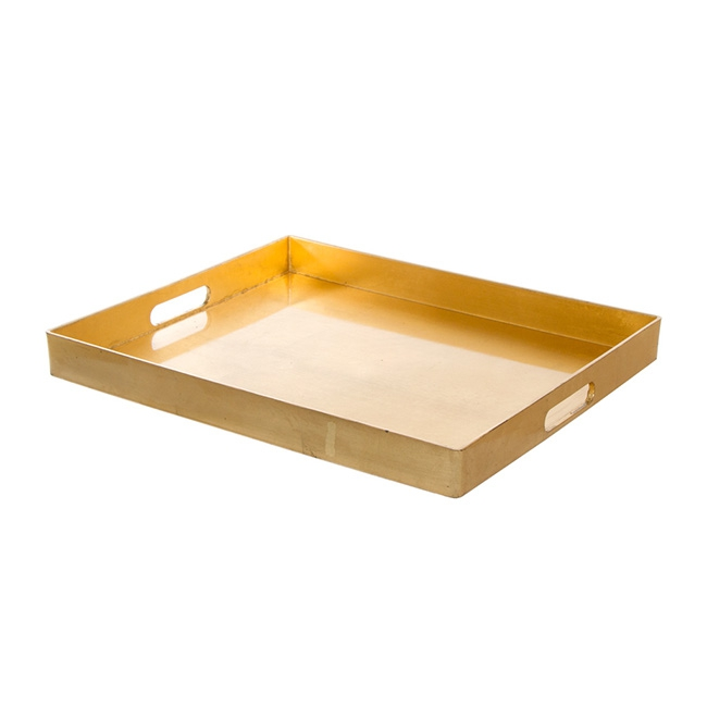 Plastic Square Tray with Handles Gold (41x34.5x4cmH)