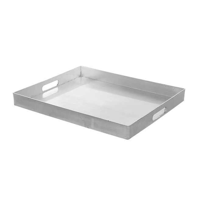 Plastic Square Tray with Handles Silver (41x34.5x4cmH)