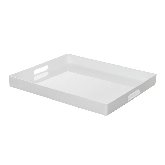 Plastic Square Tray with Handles White (41x34.5x4cmH)