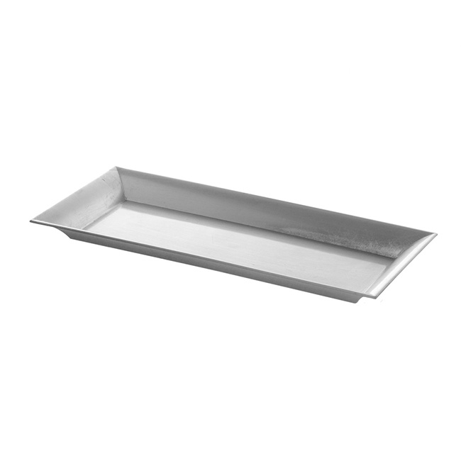 Plastic Rectangle Tray Silver (36x17x2.5cmH)