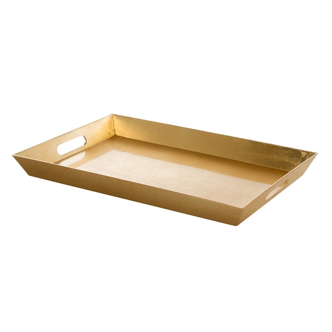 Plastic Rectangle Tray with Handles Gold (45.5x30.5x4.2cmH)