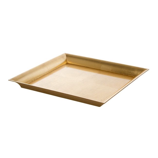 Plastic Square Tapered Tray Gold (32x32x3cmH)