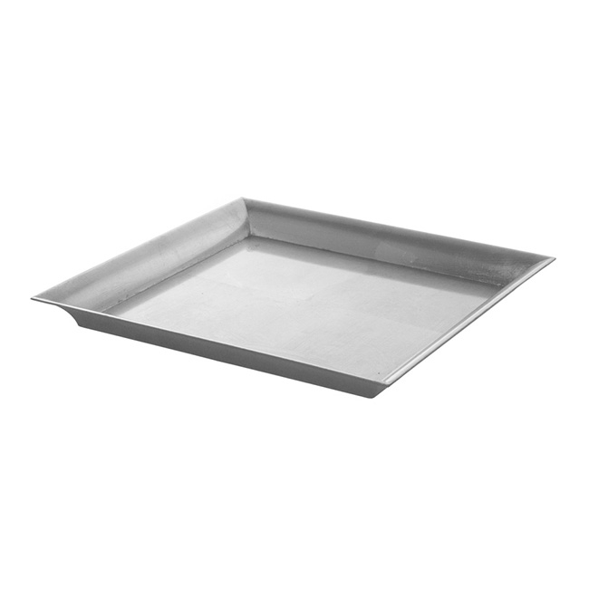 Plastic Square Tapered Tray Silver (32x32x3cmH)