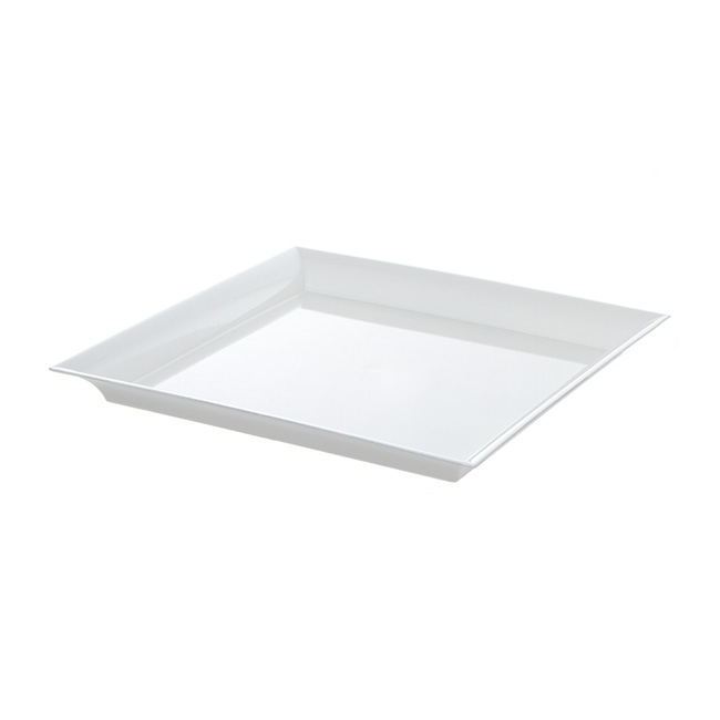 Plastic Square Tapered Tray White (32x32x3cmH)