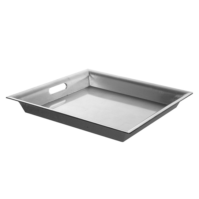 Plastic Square Tapered Tray w/Handles Silver (43x43x5cmH)