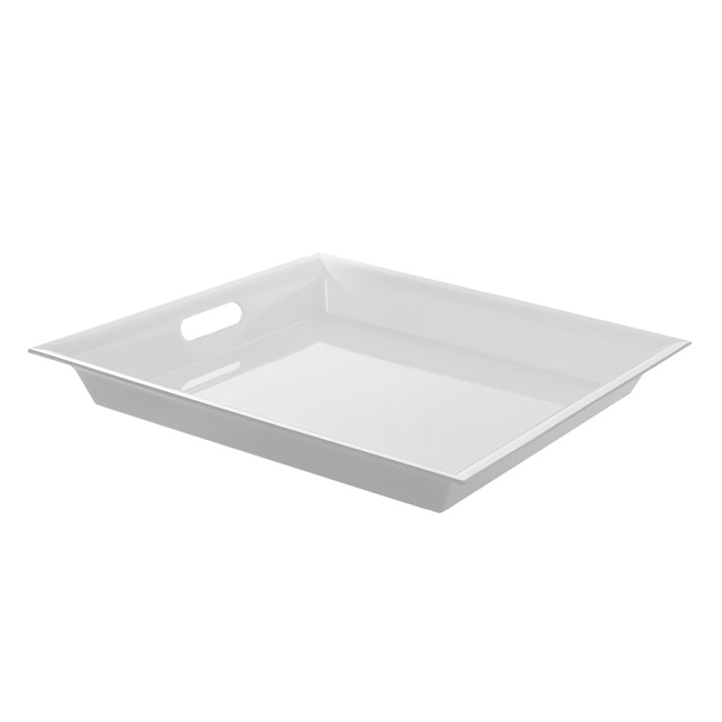 Plastic Square Tapered Tray w/Handles White (43x43x5cmH)