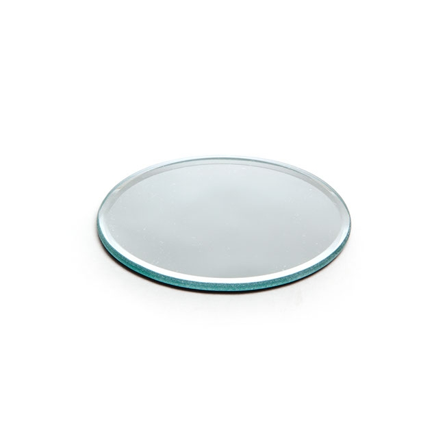 Mirror Plate Candle Display Bevelled Edge Round 10cm