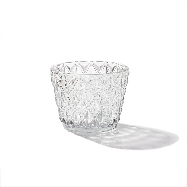 Candle Holders - Glass Votive Candle Holder Diamond Pattern Clear (7.5x6cmH)