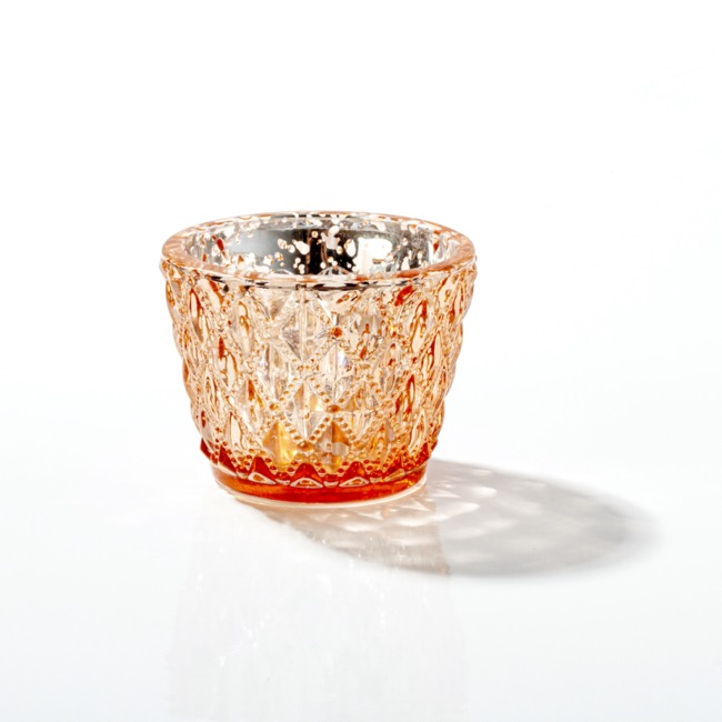 Candle Holders - Glass Votive Candle Holder Diamond Pattern Copper (7.5x6cmH)