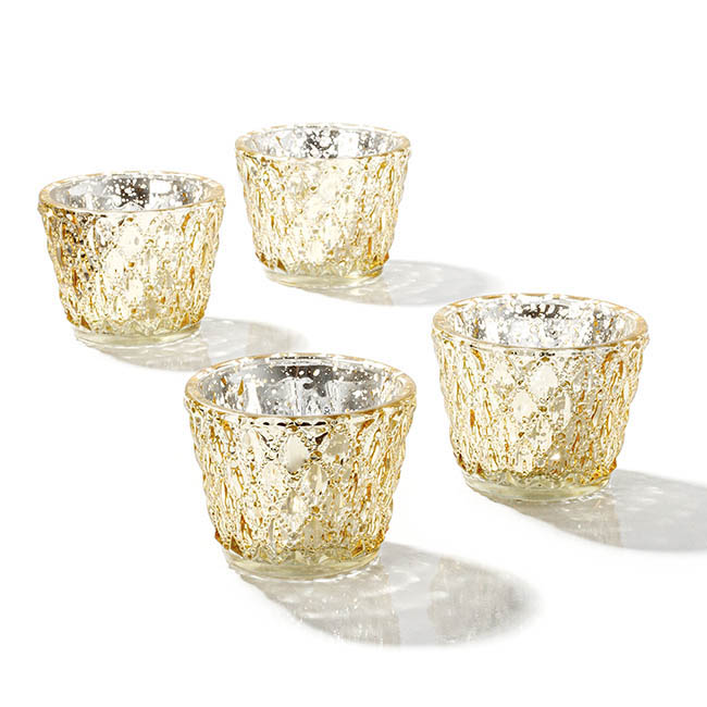 Diamond Pattern Glass Tealight Holder Gold (7.5x6cmH)