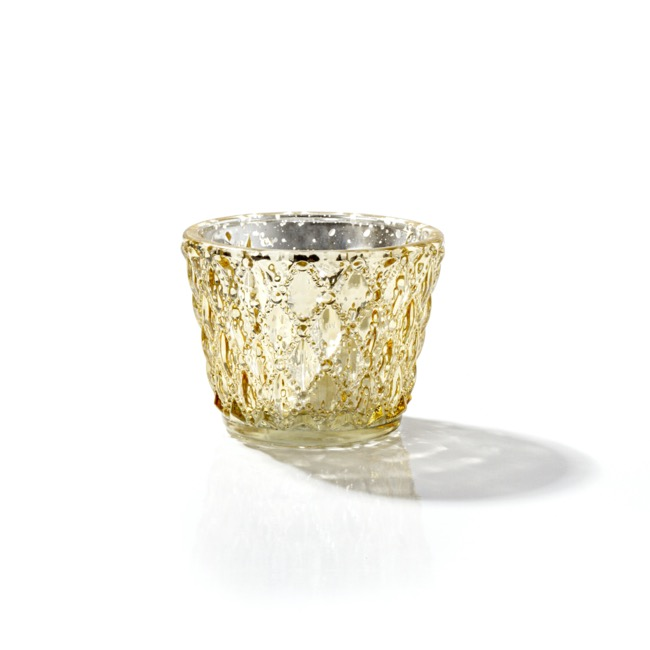 Candle Holders - Glass Votive Candle Holder Diamond Pattern Gold (7.5x6cmH)