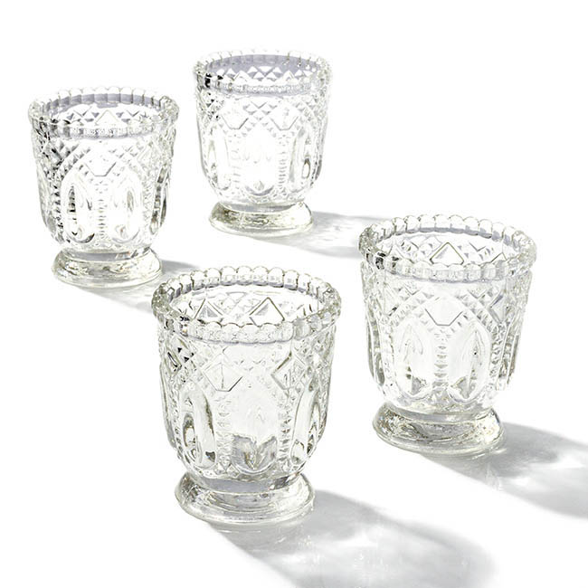 Candle Holders - Glass Votive Candle Holder Heirloom Clear (7.2x8cmH)