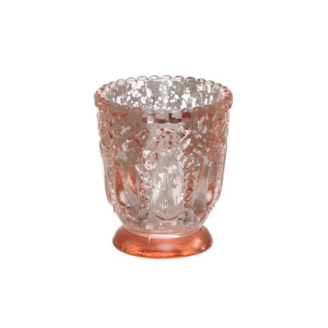 Heirloom Glass Candle Holder Copper (7.2x8cmH)