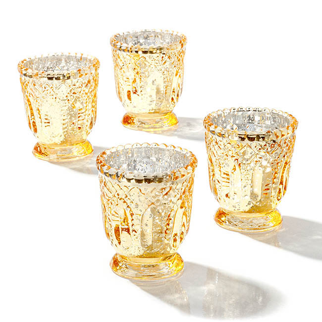Heirloom Glass Candle Holder Gold (7.2x8cmH)