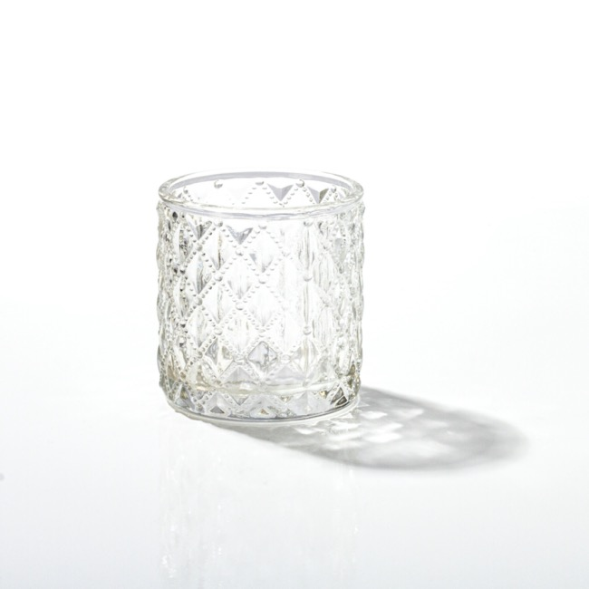 Candle Holders - Glass Votive Candle Holder Diamond Cylinder Clear 7x7.5cmH