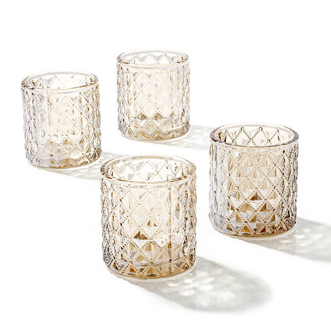 Diamond Pattern Glass Cylinder Candle Holder Silver 7x7.5cmH
