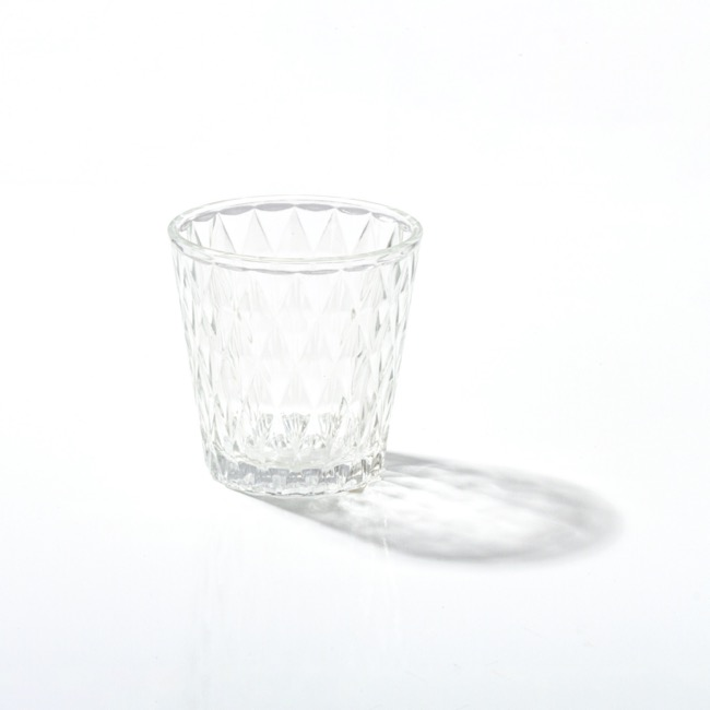 Candle Holders - Glass Votive Candle Holder Diamond Arya Clear (7.5x7.5cmH)